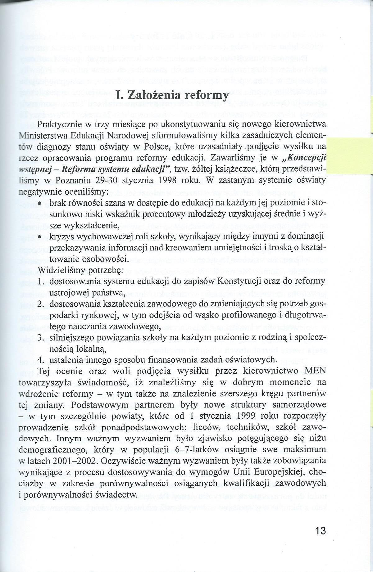Rzecz o reformie edukacji 1997-2001 - Wojciech Ksiazek0001