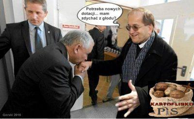 Fotomontaż przedstawiający Kaczyńskiego zRydzykiem