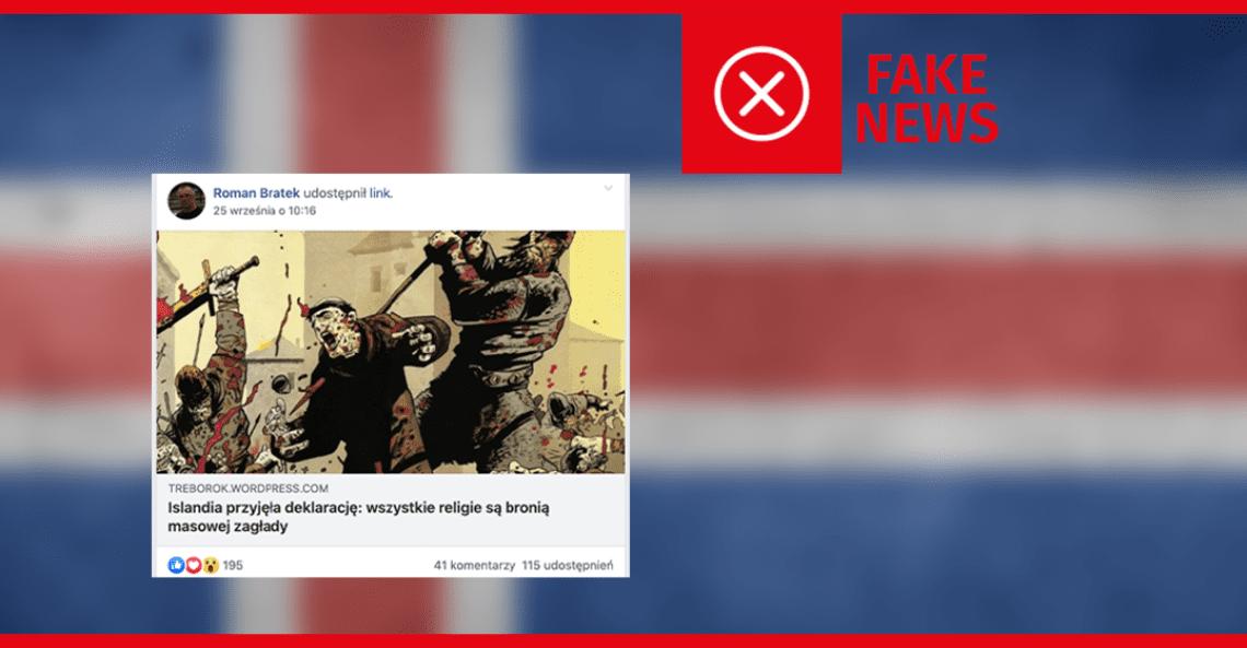 Nie, Islandia nie uznała religii za broń masowej zagłady
