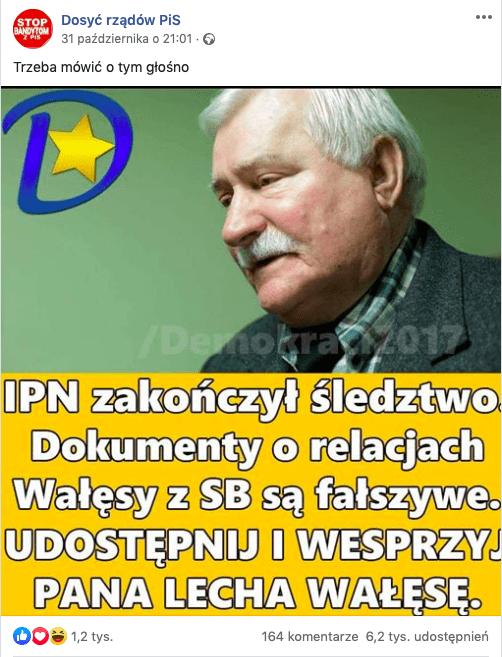 Dokumenty orelacjach Wałęsy zSB są prawdziwe.