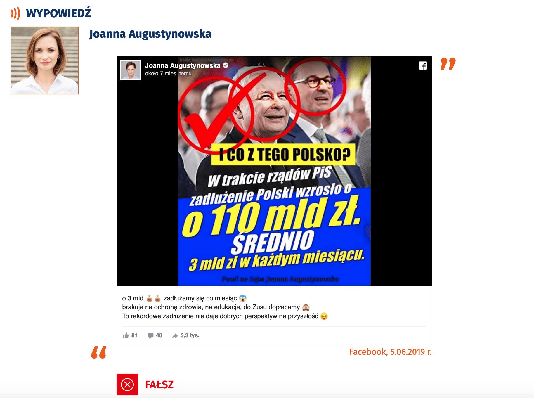 Joanna Augustynowska ozadłużeniu kraju przezPiS