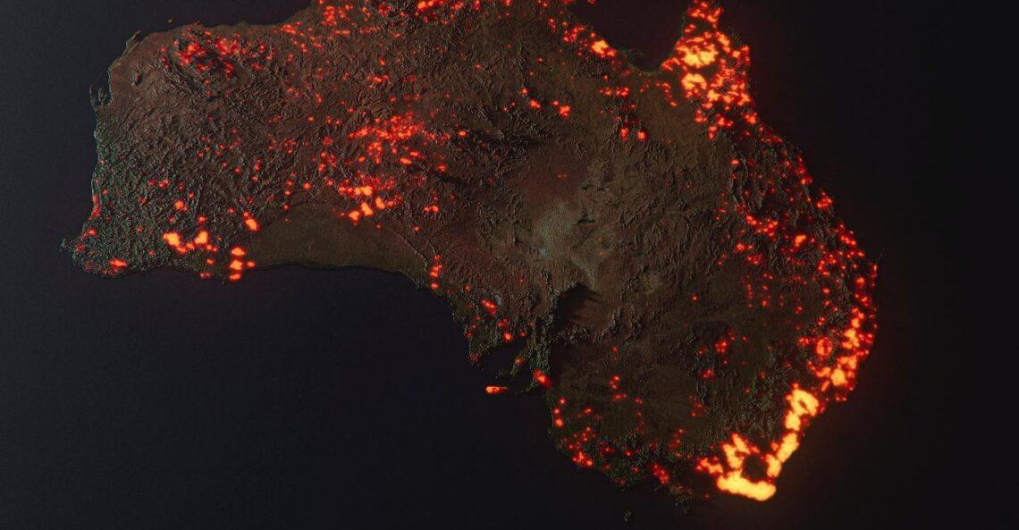 Australia w ogniu, czyli zmanipulowany podpis wizualizacji terenów objętych pożarem.