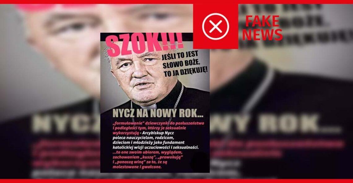 Nie, kardynał Nycz nie powiedział, że dziewczynki ponoszą winę za gwałty
