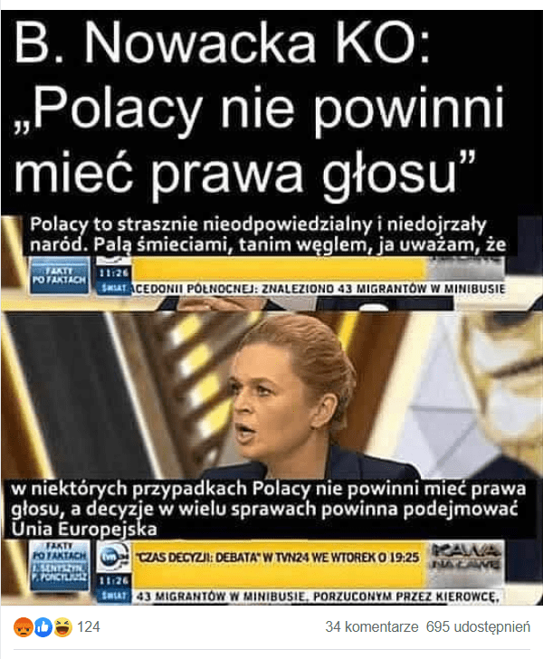 Nie, Barbara Nowacka nie stwierdziła, żePolacy nie powinni mieć prawa głosu