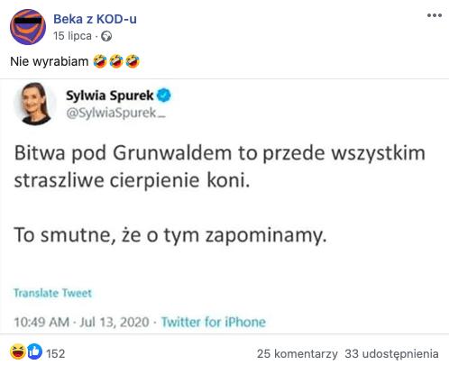 Sylwia Spurek, fałszywy tweet