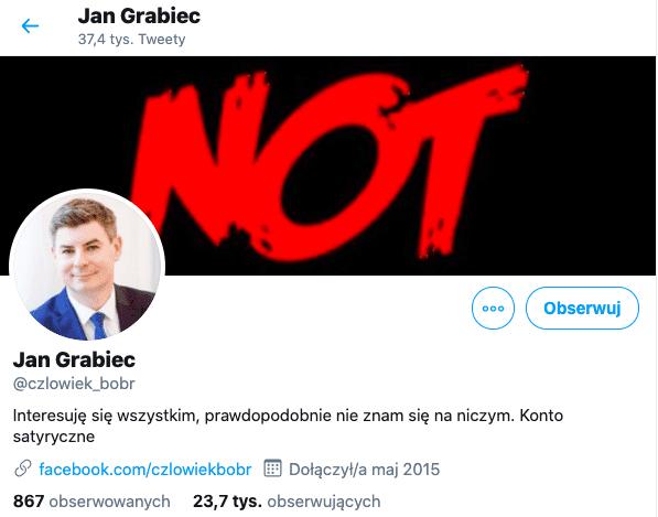 Jan Grabiec, fałszywe konto