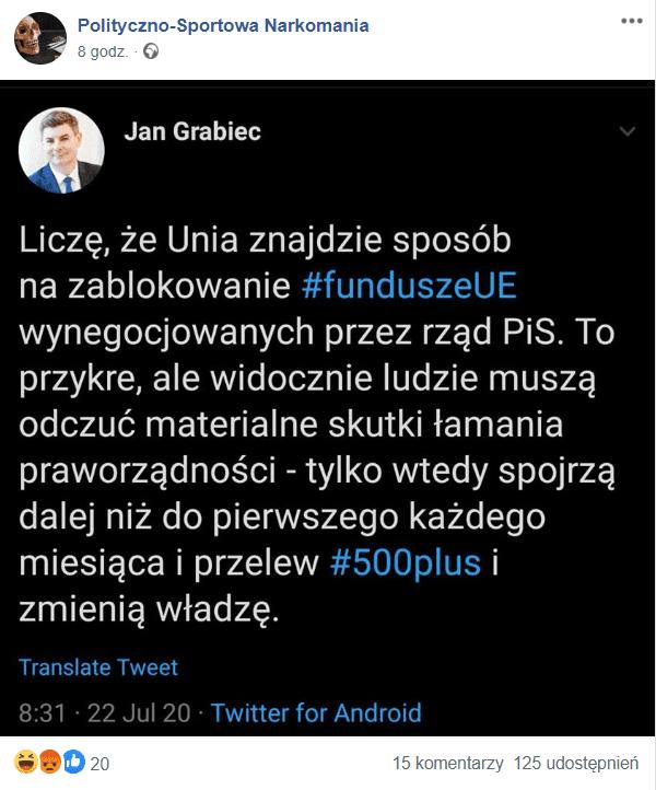 Jan Grabiec fałszywy tweet