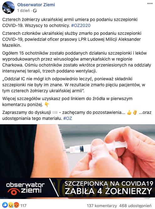 Ukraińscy żołnierze nie zmarli pootrzymaniu amerykańskiej szczepionki nakoronawirusa