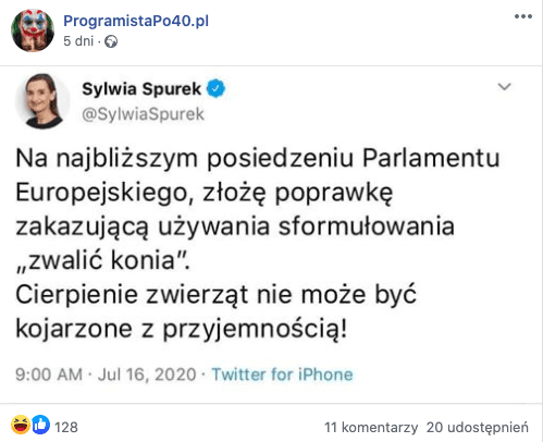 Sylwia Spuera, fałszywy tweet
