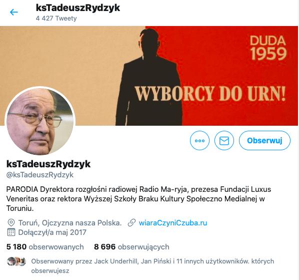 Tadeusz Rydzyk, parodystyczne konto