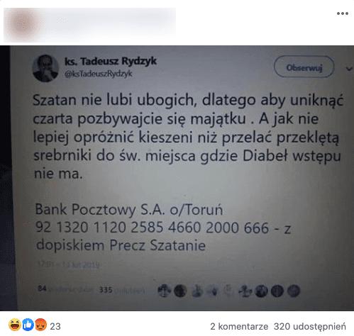 Tadeusz Rydzyk, fałszywy tweet