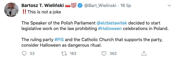 PiS nie planuje zdelegalizować Halloween