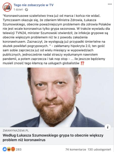 Szumowski, wypowiedź natemat grypy icovid