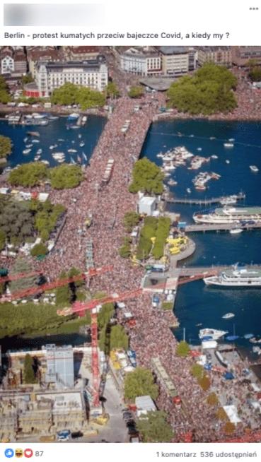 To zdjęcie nie przedstawia protestu wsprawie koronawirusa