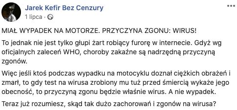 Nie, koronawirus nie jest przyczynązgonu powypadku motocyklowym