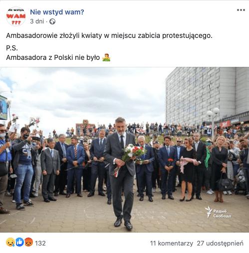 Polski ambasador złożył kwiaty wMińsku