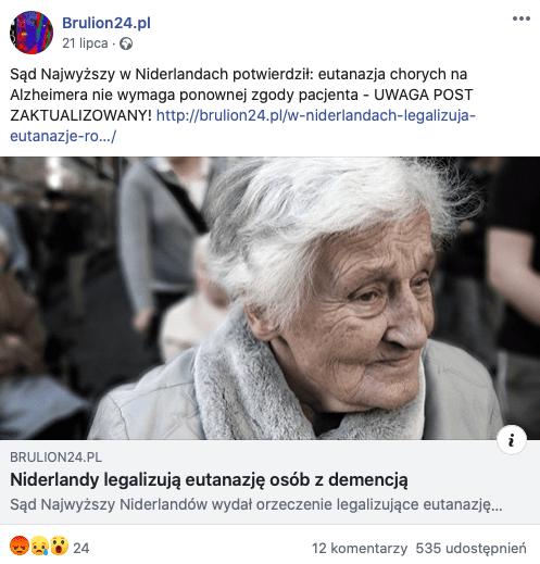 Nie, wHolandii nie dokonuje się eutanazji naosobach zdemencją bez ich zgody