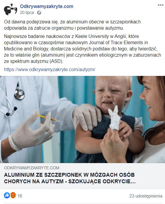 Nie, aluminium zawarte wszczepionkach nie powoduje autyzmu