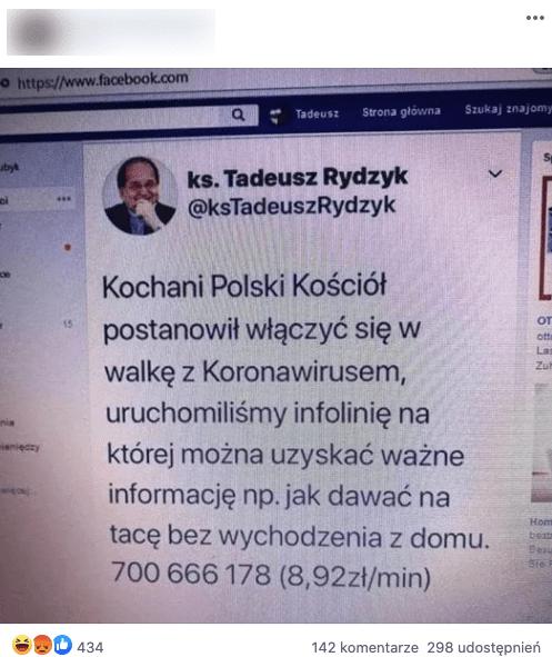 Ojciec Rydzyk nie uruchomił infolinii wzwiązku zkoronawirusem