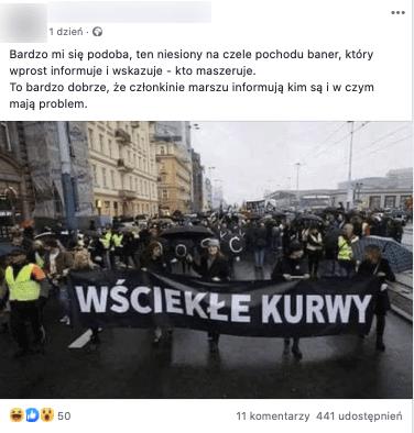 Post zFacebooka. Kobiety strajkujące zbanerem, naktórym zmieniono napis naWściekłe Kurwy