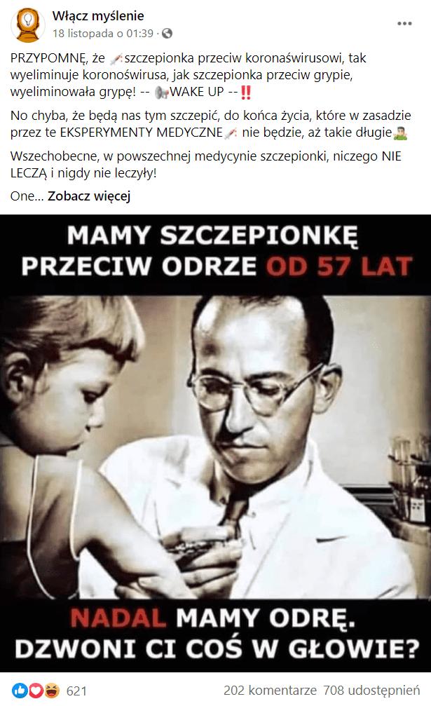 """Post zFacebooka, nagrafice widzimy mężczyznę szczepiącego dziecko ipodpis """"mamy szczepionkę przeciw odrze od 57 lat, nadal mamy odrę. Dzwoni Ci coś wgłowie?"""""""