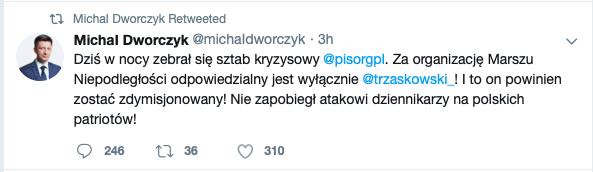 Dziś wnocy zebrał się sztab kryzysowy @pisorgpl. Zaorganizację Marszu Niepodległości odpowiedzialny jest wyłącznie @trzaskowski_! Ito on powinien zostać zdymisjonowany! Nie zapobiegł atakowi dziennikarzy napolskich patriotów!