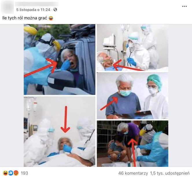 Post zFacebooka, widzimy nanim zdjęcia meżczyzny podczas procedur COVID-19