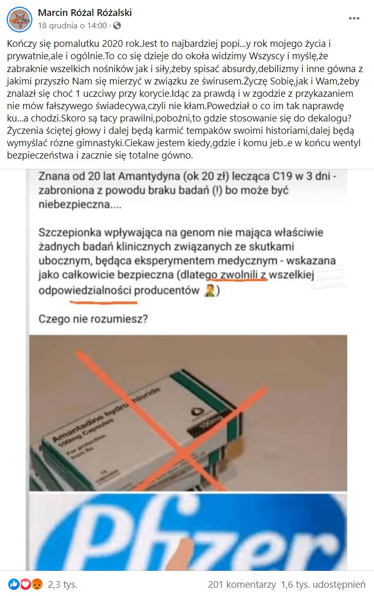 Zdjęcie wpisu Marcina Różalskiego natemat leku iszczepionek przeciw COVID-19.