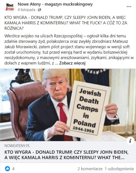 """Post naFacebooku owyborach wUSA iszczepionkach zgrafiką przedstawiającą Donalda Trumpa ztabliczką """"Żydowskie Obozy Śmierci wPolsce"""""""""""