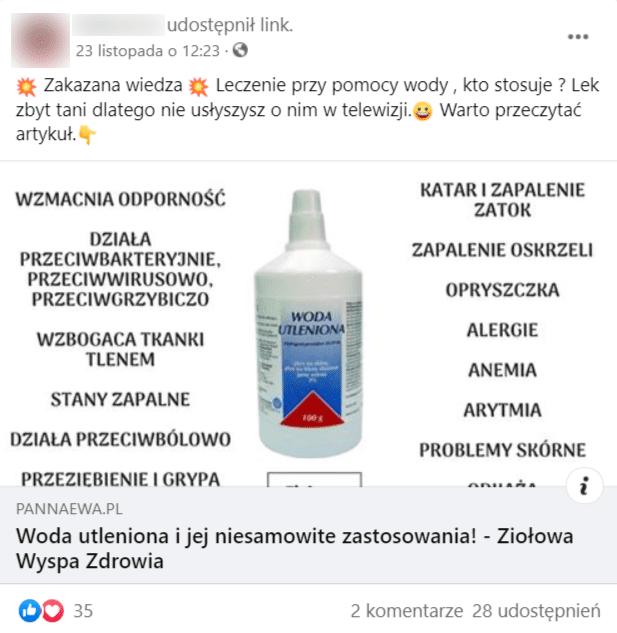 Post naFacebooku dot. wody utlenionej