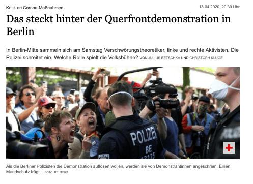 Artykuł dot. protestów koronasceptyków wBerlinie, analizowane zdjęcie jako opisujące artykuł