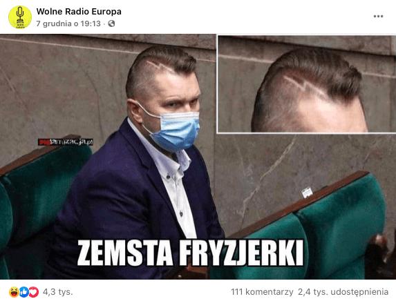Post naFB - Minister Czarnek zwyciętą błyskawicą we włosach