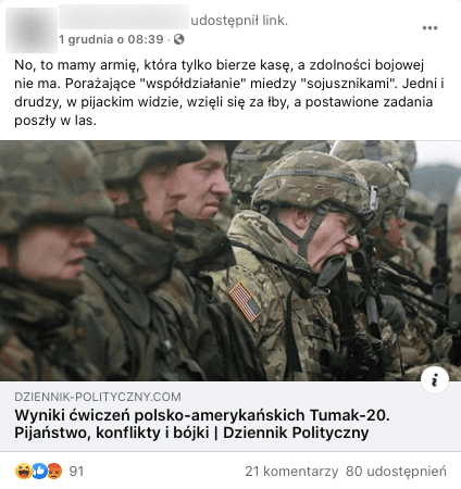 """Post naFacebooku, artykuł """"Wyniki ćwiczeń polsko-amerykańskich Tumak-20. Pijaństwo, konflikty ibójki"""""""