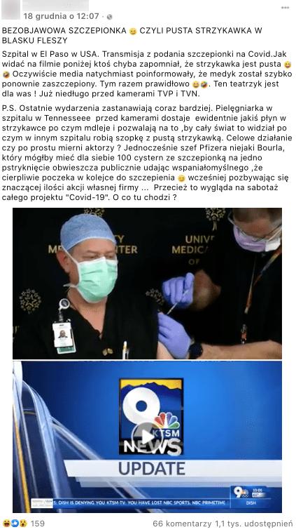 Post naFacebooku dotyczący szczepienia pracownika. Nazdjęciu widzimy relację zwydarzeń.