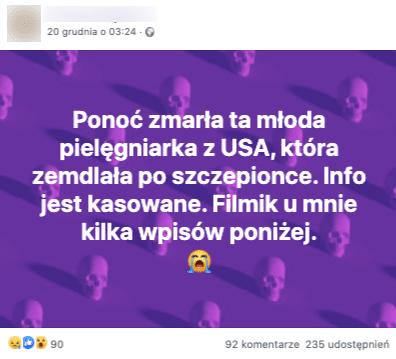 """Post naFB, wtreści czytamy: """"Ponoć zmarła ta młoda pielęgniarka zUSA, która zemdlała poszczepionce. Info jest kasowane. Filmik umnie kilka wpisów poniżej."""""""