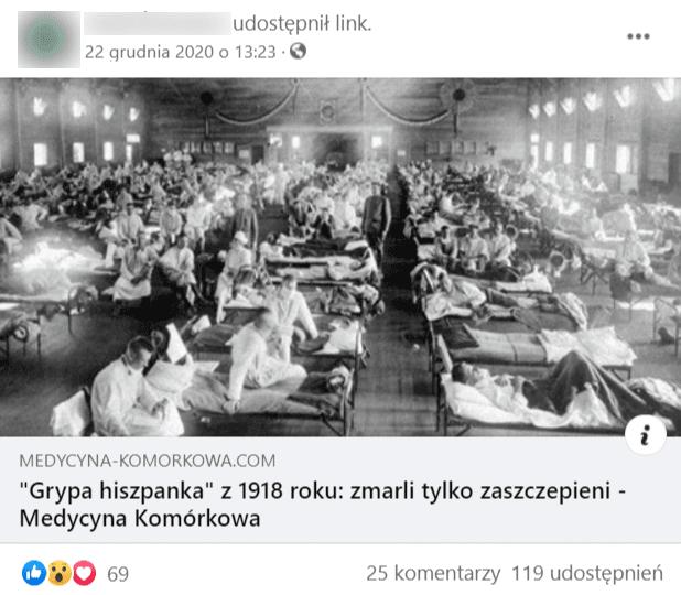 Zrzut ekranu wpisu nafacebooku opatrzonym archiwalnym zdjęciem chorych włóżkach szpitalnych.