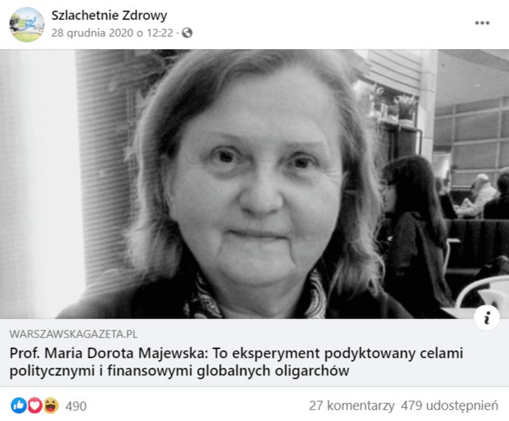 Zdjęcie facebookowego wpisu zodnośnikiem dowywiadu zprof. Marią Dorotą Majewską.