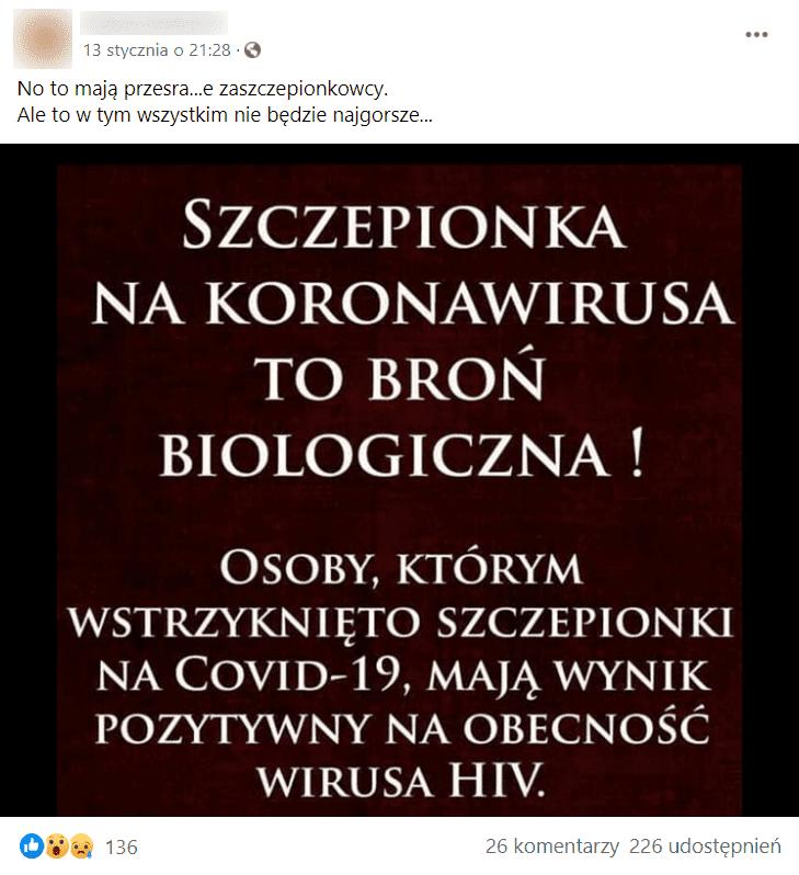 Zdjęcie wpisu naFacebooku ztezą obroni biologicznej wformie szczepionek.