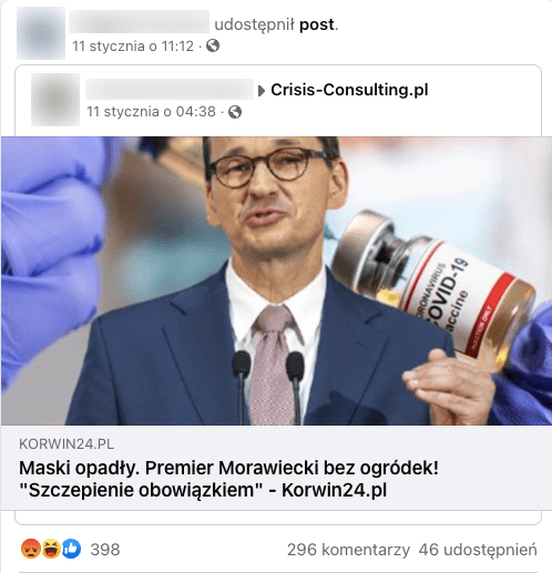 Post naFacebooku zartykułem portalu Korwin24.pl. Nazdjęciu Mateusz Morawiecki, wtle szczepionka naCOVID-19.