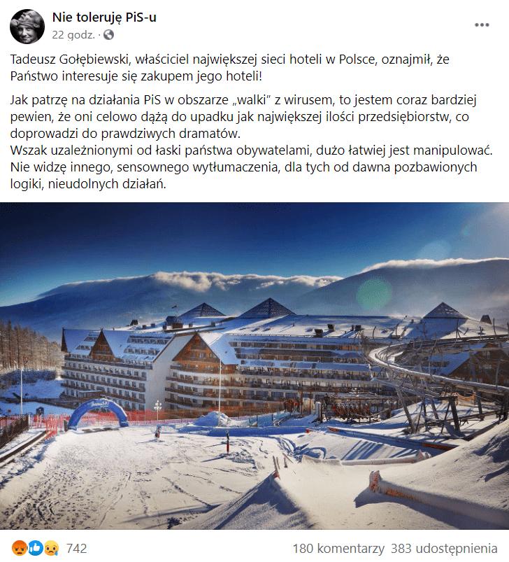 Zdjęcie posta zgrupy Nie toleruję PiS'u natemat sytuacji sieci hoteli Gołębiewski.