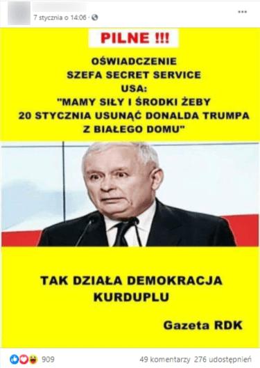 Post zFacebooka, nazdjęciu Jarosław Kaczyński.