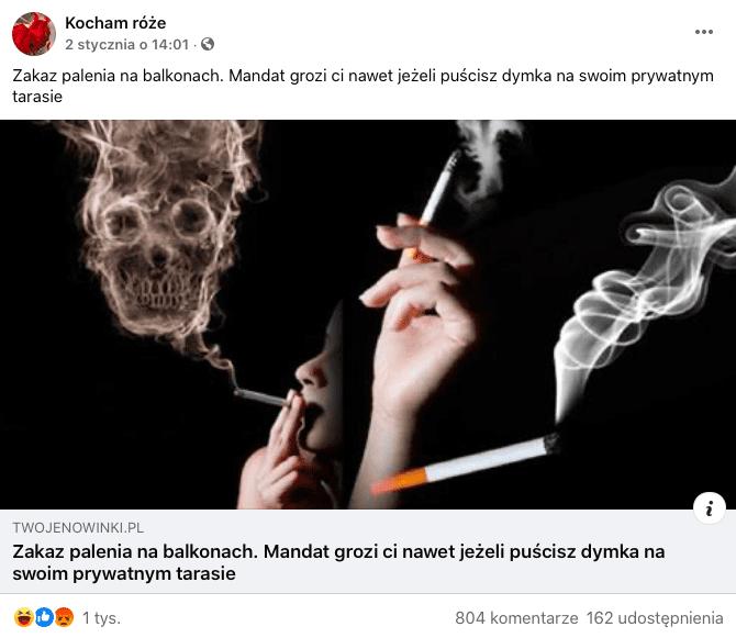 """Post zFacebooka zartykułem """"zakaz palenia nabalkonach. Mandat grozi ci nawet jeżelipuścisz dymka naswoim prywatnym tarasie"""". Nazdjęciu czaszka, dym ipapieros."""