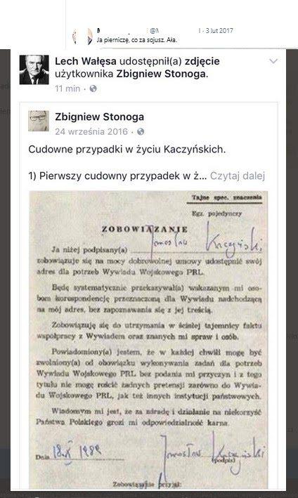 Wpis Zbigniewa Stonogi udostępniony przezLecha Wałęsę.