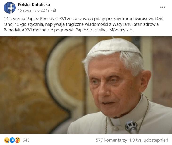 Analizowany post naFacebooku. Nazdjęciu papież Benedykt 16.