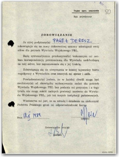 Oryginalne zobowiązanie zpodpisem Pawła Deresza.