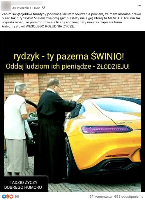 Analizowany post naFB. O. Rydzyk podpisujący coś starszej kobiecie nażółtym luksusowym samochodzie.