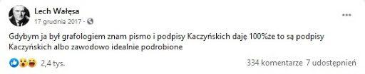 Zdjęcie wpisu Lecha Wałęsy naFacebooku.