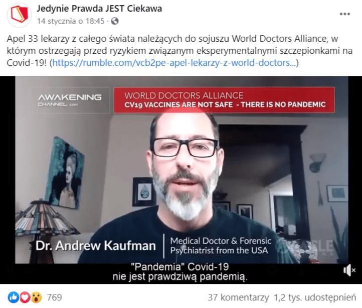 Zdjęcie wpisu naFacebooku znagraniem autorstwa grupy World Doctors Alliance.