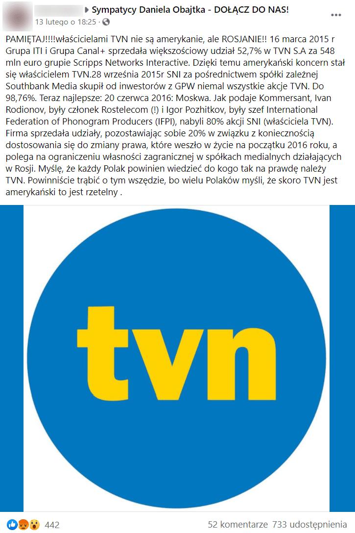 Post zamieszczony naFacebooku wraz zopisem transakcji isieci powiązań TVN zrosyjskimi przedsiębiorstwami. Poniżej umieszczono grafikę wraz zlogo Grupy TVN.
