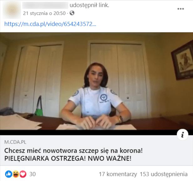Zrzut ekranu przedstawiający wpis nagrupie Stop aferzystom naFacebooku zpodlinkowaniem dofilmu zudziałem Rachel Celler. Nazdjęciu ilustrującym film widoczna jest kobieta siedząca przybiurku. Obokniej znajduje się niewielki stos kartek.